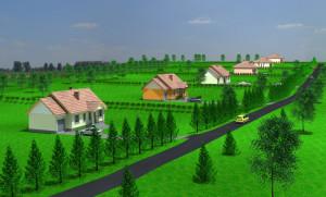 wizualizacja osiedla domków jednorodzinnych