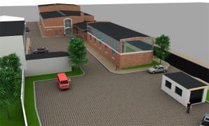 wizualizacja przebudowy terenu postindustrialnego